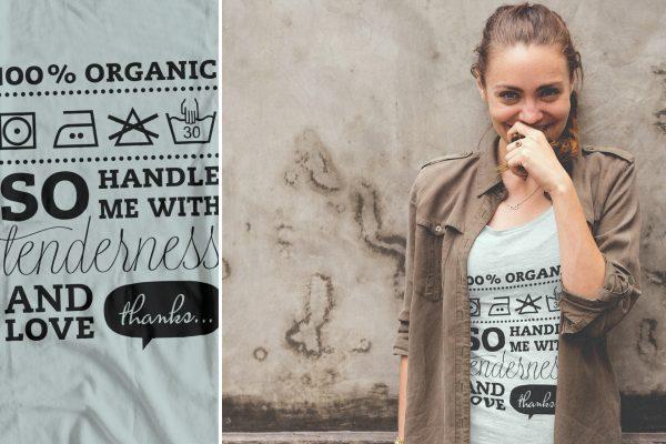 Portfolio image t-shirt design 100 percent organic Eric Steuten Creative Director art direction & UI UX designer